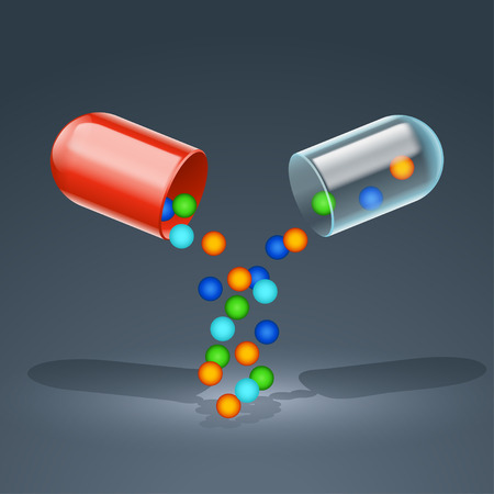 red pill: illustration of red pill opened with granules on dark background