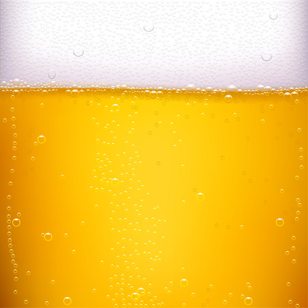 illustration of yellow vector beer background with a lot of bubbles
