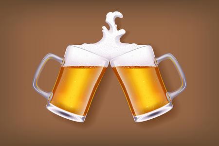 illustration of two glasses of light beer on dark brown background