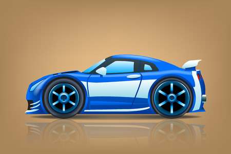 car side view: illustration of blue sportcar view from side on brown background