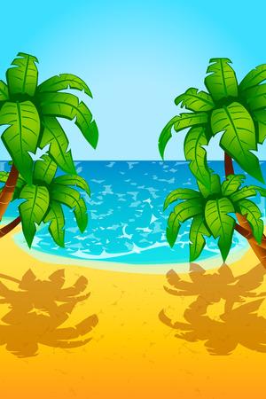sand beach: illustration of sea sand beach and few palm trees