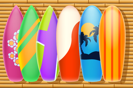 surfboards: illustration of six surfboards on bamboo wall with shadows