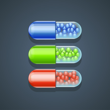 granules: illustration of three  pills with granules differetn color