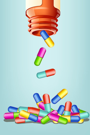 pills: illustration of opened bottle with different color pills falling in the heap