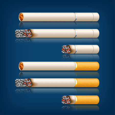 general warning: illustration of set of different stages of smoked cigarettes Illustration