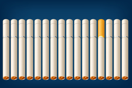 toxic product: illustration of a lot of cigarettes with one different type