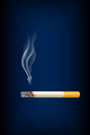smell of burning: illustration of smoked cigarette on with smoke on dark blue background Illustration