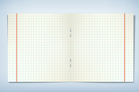 scholastic: illustration of cell paper of copybook with red lines on blue background