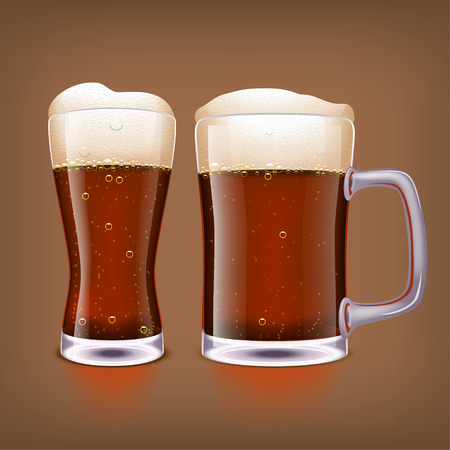 dark beer: illustration of two glasses of dark beer on dark blue background Illustration