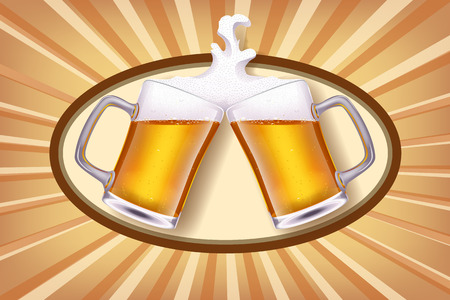 glases: illustration of two glases of white beer smashes each other on shiny background