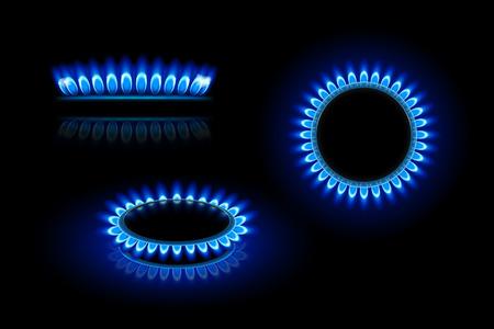estufa: ilustración de la estufa de gas en tres puntos de vista sobre fondo oscuro