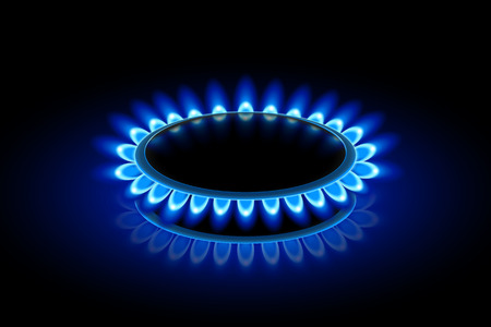 gas stove: illustration of gas stove in perspective view on darkness Illustration