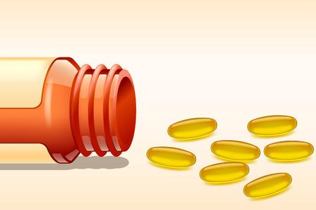 multivitamin: illustration of opened bottle with omega pills