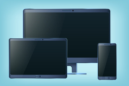monoblock: illustration of set of gadjets such as tablet smartphone and monoblock Illustration