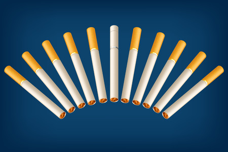 vices: illustration of a group of cigarettes with different filter on blue background