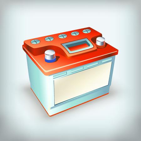 12v: illustration of red blue car battery on grey background Illustration