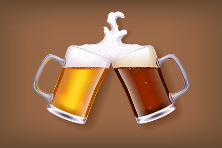 beer party: illustration of two glasses of white and dark beer smashes each other