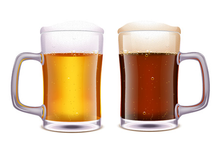 dark beer: illustration of two glasses white and dark beer on white background