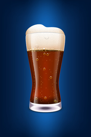 dark beer: illustration of glass of dark beer on dark blue background
