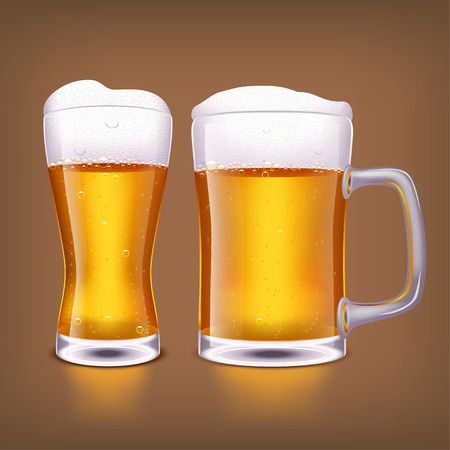 illustration of two glasses of light beer on dark brown background