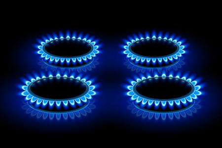 illustration of four ring stoves with blue flame on darkness