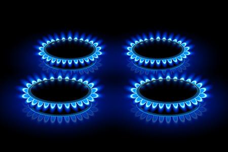 llamas de fuego: Ilustración de cuatro estufas de anillo con una llama azul en la oscuridad Vectores