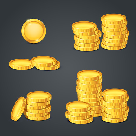 illustration of set of different bvalue of coins on dark background