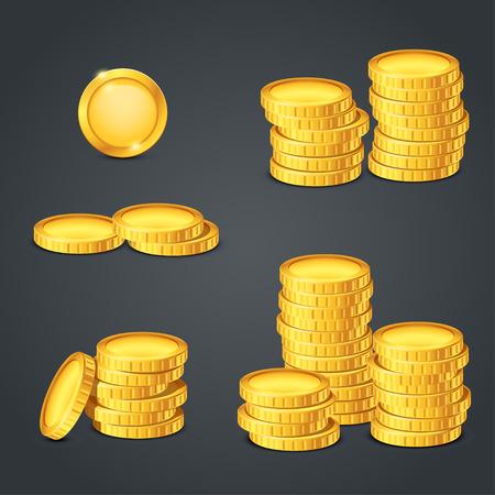 Ilustración del conjunto de diferentes bvalue de monedas sobre fondo oscuro