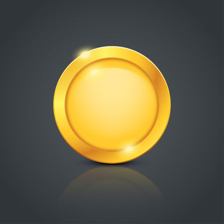 illustration of gold coin with reflection on dark background Иллюстрация