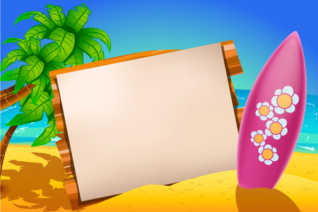 illustration of one surfboard with board with paper and palm tree on the beach