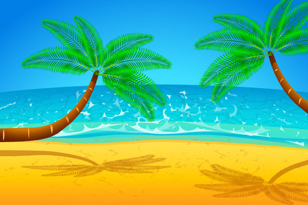 maldives island: illustration of palm trees on the beach with the sea