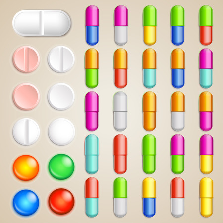 paracetamol: big set of different types and color pills on bright background Illustration