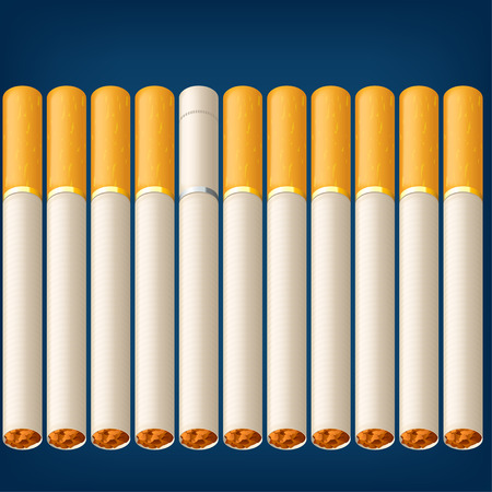 vices: a lot of cigarettes on blue background with one different type