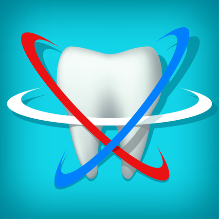 carious cavity: illustration of single tooth with three circles on blue background