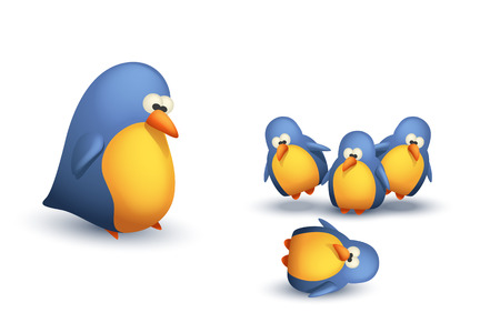twit: illustration of some group of birds and big bird with them on white background