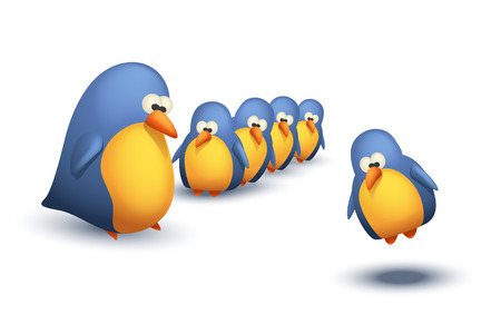 twit: illustration of some group of birds with big bird on white background