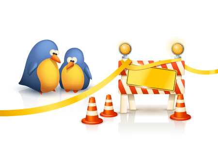 twit: illustration of two cute birds and restricted zone on white background