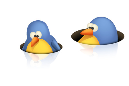 twit: illustration of two cute birds peeping from black holes on white background