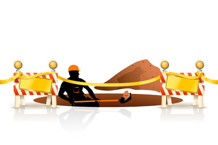 road construction: illustration of worker digging a hole with showel on white background