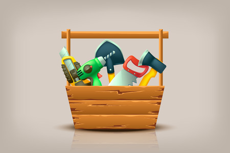 lying in: illustration of different builder tools lying in wooden toolbox Illustration