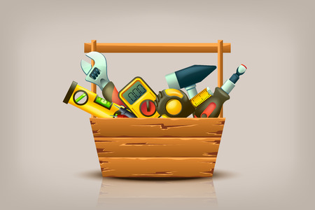wooden box: illustration of different builder tools in wooden box Illustration