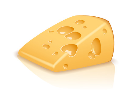 one piece: illustration of one piece of yellow cheese on white background