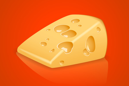 one piece: illustration of one piece of yellow cheese on red background