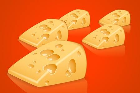 cheez: illustration of some pieces of yellow cheese on red background