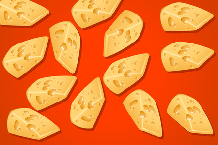 chunk: illustration of group of pieces of yellow cheese on red background