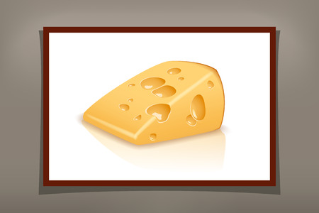 cheez: illustration of one piece of yellow cheese on white background