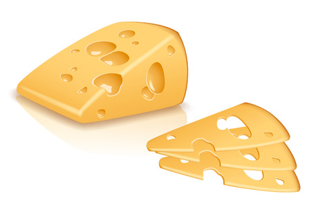 one piece: illustration of one piece of yellow cheese with sliced pieces on white background Illustration