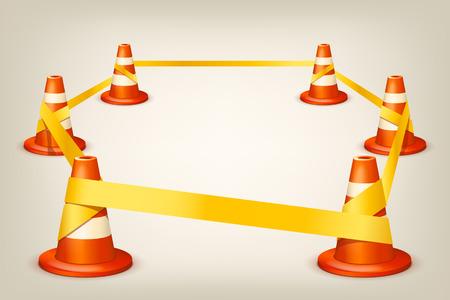 accidente trabajo: Ilustración del conjunto de conos blancos rojos con la cinta amarilla Vectores