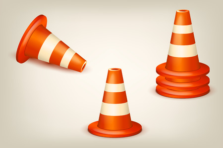 dangerous construction: illustration of set of red white cones in difeerent poses