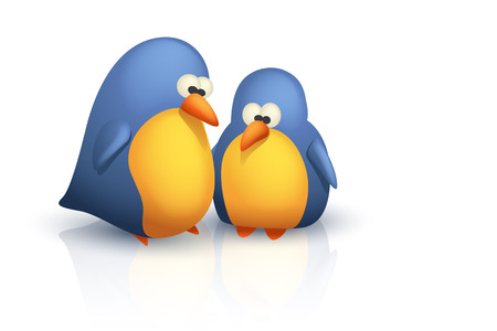 twit: illustration of two cute stupid birds on white bavkground with reflect